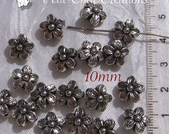 SPACER 40 3D PERFORATION 1.7 MM * S38 10X10MM SILVER FLOWER BEADS