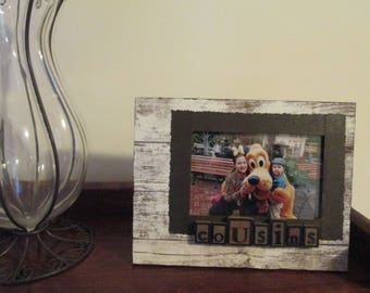 4x6 Cousins Themed - Hand Decorated Picture Frame