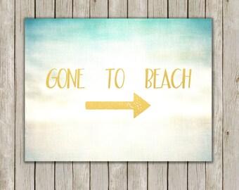 8x10 Gone To Beach Print, Nautical Poster, Nautical Printable, Beach Wall Art, Seaside Art, Home Decor, Beach Art, Instant Digital Download