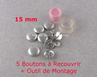 """5 Cover Buttons 5/8"""" (Size 24) with assembly tool"""