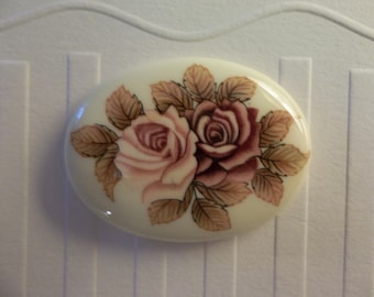 Vintage Cameos - Japanese Decal Picture Stones - Pink & Mauve Two Rose Cameo -  40X30mm Glass Cabochons - Qty 2