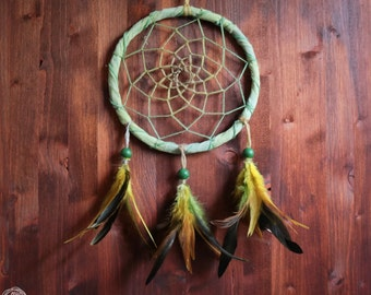 Dream Catcher - Fresh Green Field - With Green and Yellow Feathers and Aqua Frame - Home Decor, Nursery Mobile