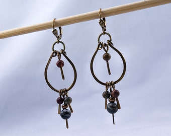 Picasso Jasper and Antique Brass Pendulum Earrings