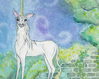 Unicorn in Forgotten Garden - Original Watercolor Painting 12 inch square
