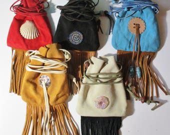Custom Made! Multicolor Medicine Bags Leather Baby Soft, Hand Crafted Crow Beads Hand-cut and Sewn with Waxed Sinew Fringed
