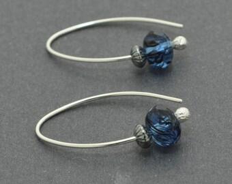 Blue Earrings, Blue Hoops, Sterling Silver Hoops, Czech Glass