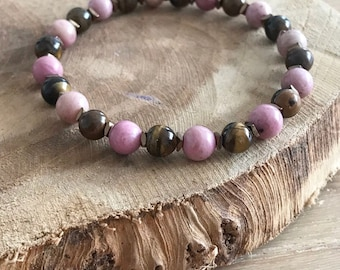 Rhodonite, Tiger eye and hematite bracelet