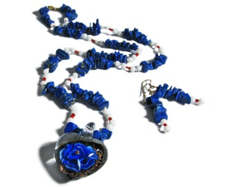 Blue Floral Glass and Lapis Bead Artisan Jewelry Set By SoniaMcD