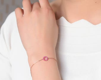 Sale! Ruby Bracelet in 18k white gold, Ruby Pavé Bracelet in 18k Rose Gold