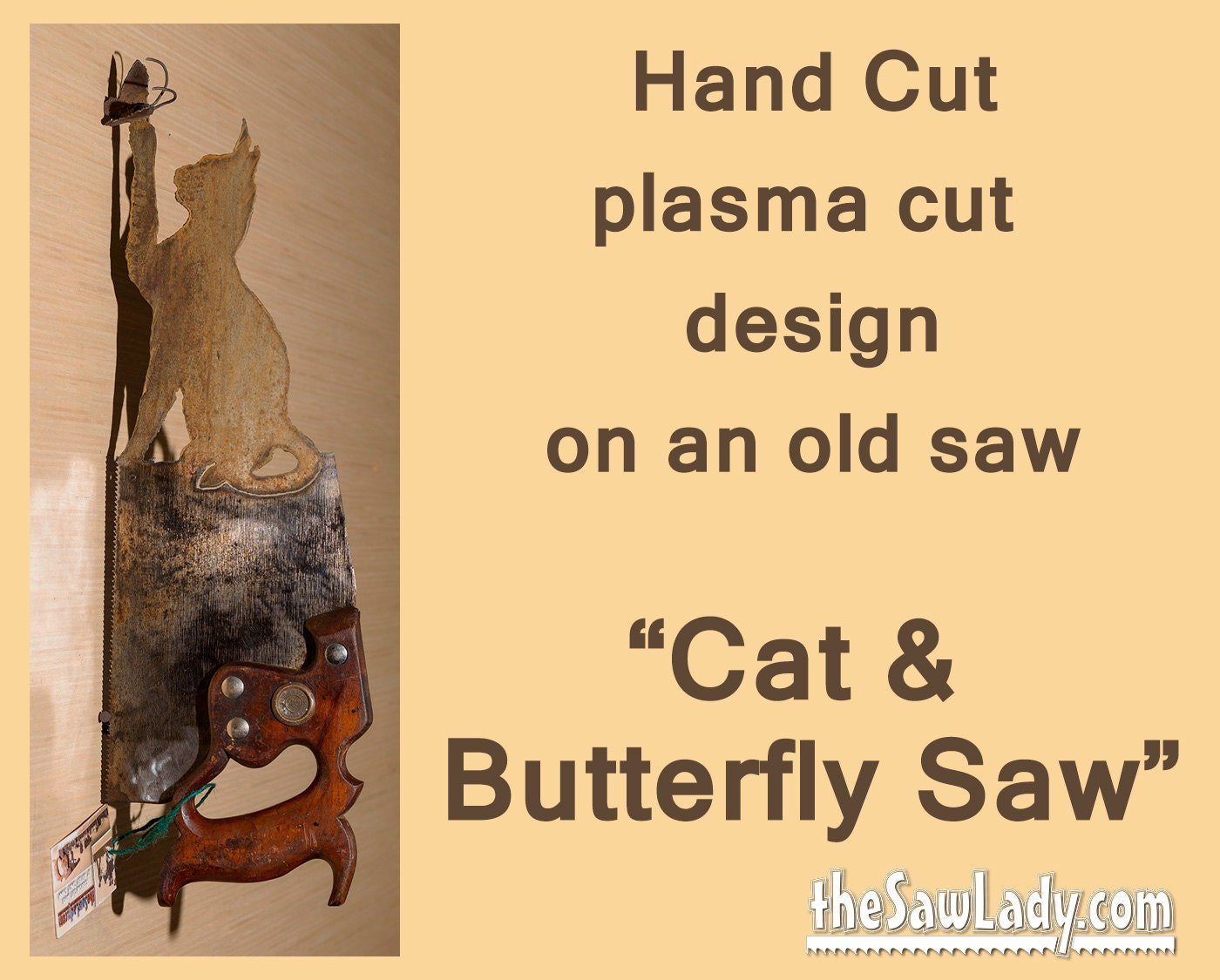 Metal Art Cat and Butterfly design on Hand plasma cut