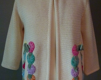 Vintage Saks Fifth Avenue Cardigan Sweater with Velvet Rosettes and Bows