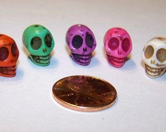 SKULLS Tiny Multi Colored Stone Howlite Beads Jewelry Supply (7 Pieces)