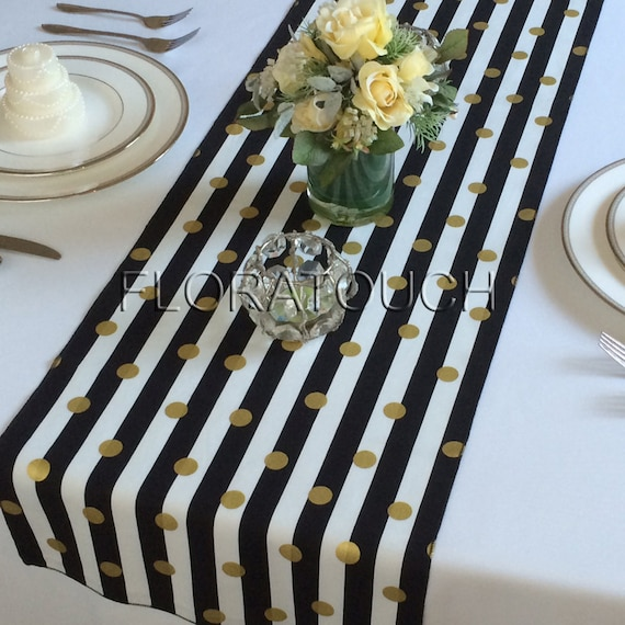 White And Black Striped With Gold Dots Table Runner Wedding