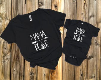 Mama Bear Baby Bear shirt set, mama bear shirt baby bear shirt baby shower, birthday, mothers day gift