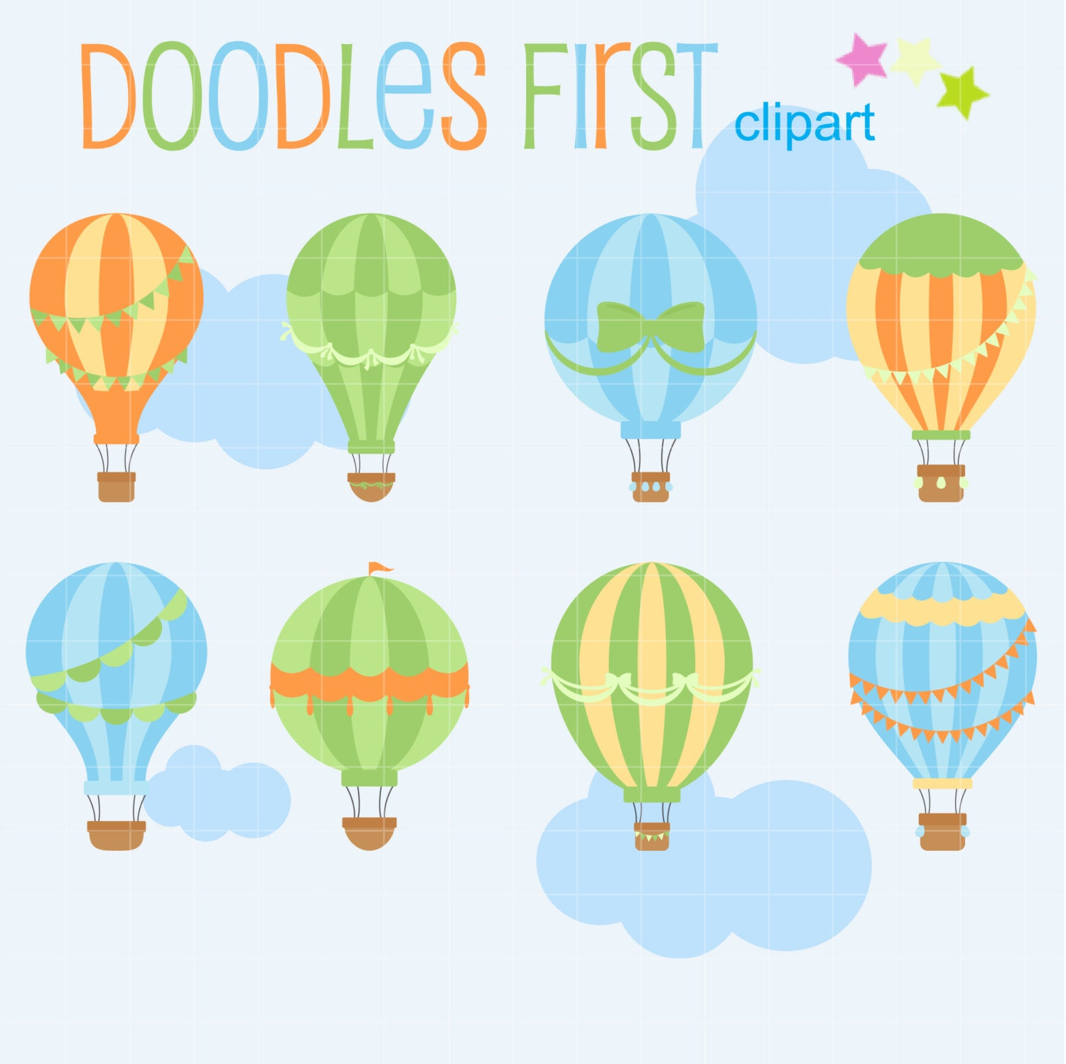 Hot air balloons digital clip art for scrapbooking card making hot air balloons digital clip art for scrapbooking card making cupcake toppers paper crafts jeuxipadfo Gallery