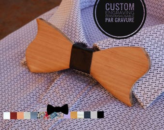 Original wood Bow Tie, natural wood personalized with engraving and ribbon, man gift