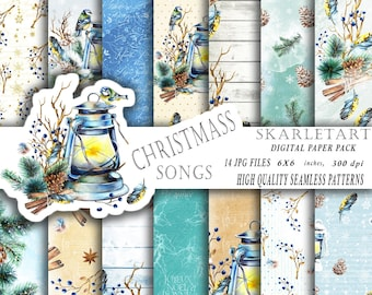 Christmas Paper Pack Christmas Digital Backgrounds Xmas Mint Gold Scrapbook Paper Watercolor Invitation  Mint Planner Supplies