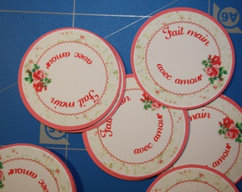 """Set of 20 round stickers label """"Handmade with love"""""""