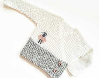 Hand Knit Baby Sweater / Cardigan in White and Light Gray Soft Super-Wash Merino Wool, Newborn Baby Cardigan for Infant  of 3-6-9 Months