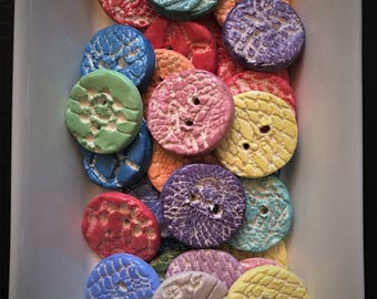 Ceramic Lacy Round Buttons