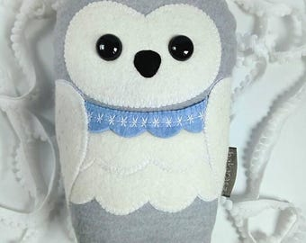 Owl plush, snowy owl, handmade stuffed toy woodland friend, prince Milton
