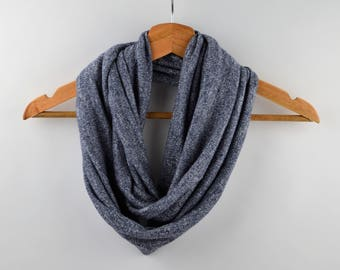 Snood, scarf, neck double turn gray mesh