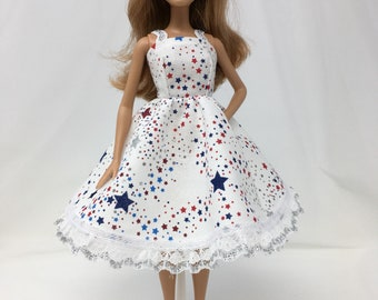 "Fireworks Dress-11.5"" Doll Clothes-Holiday Dress-Fashion Doll Dress-Fourth of July Dress-Red, White & Blue Dress-Handmade Doll Clothes-Toys"