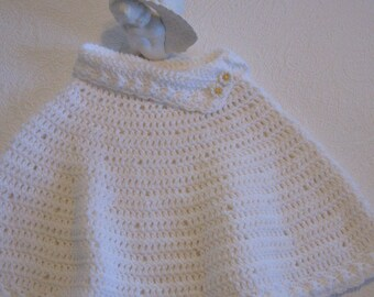 First Communion Cape, Hand Crocheted Cape, Flower Girl Cape, White Spring Sweater Poncho, Girls Size 6/7 Cover Up From Made Of Flaws