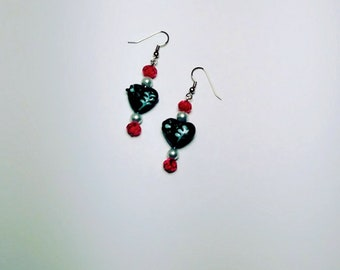 Black Hearts with White and Red Glass Beads, 1 1/2 inches in length. Nickel free.