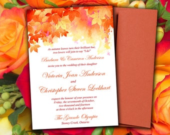 "DIY Wedding Invitation Template ""Watercolor Fall"" Red Orange 5 x 7 Wedding Printable Word Template - Autumn Wedding Download"