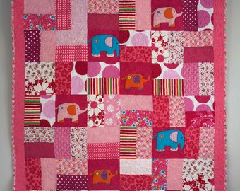 Girls Patchwork Quilt, Baby Girl Blanket, Elephant Quilt, Patchwork Quilt for Children, Pink Patchwork Bedding, Kids Single Bed Quilt