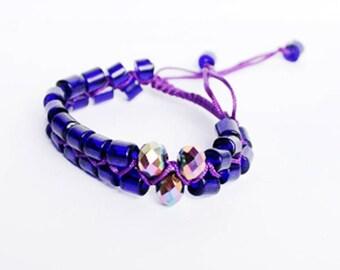 dark blue bracelet metallic jewelry shamballa bracelet beach jewelry crystal bracelet gift for her bold bracelet bff gift bead bracelet Q5