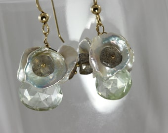Large AAAA green amethyst earings, with pearl and labradorite beads earings, green  handmade earings, gold fill wire wrap gem jewelry