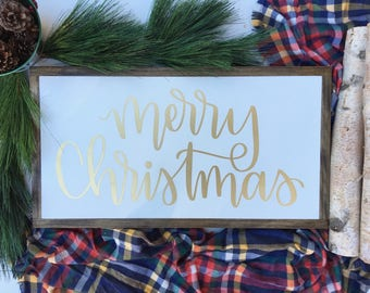 13 x24 | Merry Christmas | Framed Wood Signs