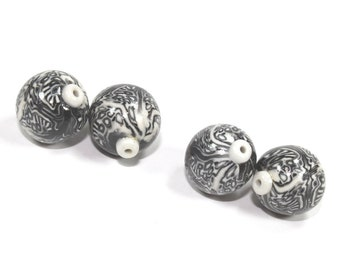 Polymer Clay  round beads in Black, White and Greys. Unique pattern, Set of 4