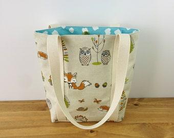 Small Tote Handbag, Small Tote Bag, Small Tote Purse,  Womens Handbag, Animal Handbags, Woodland Bag, Fox Gift Idea, Gift Ideas for Women