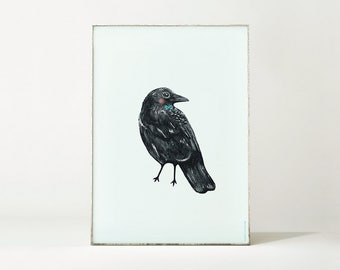 Print / Poster with Crow Bird illustration - A4 size