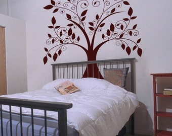 Giant Tree with Falling Leaves - Vinyl Wall Decals - Your Choice of Color