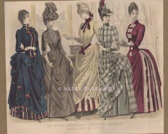Hauntingly Beautiful Gothic Dress-Love Letter-Fashion-Victorian-Clothing-Paris-Les Modes Parisiennes-1887 Antique Vintage Art Print-Picture