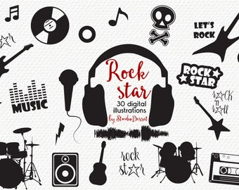 Rock Star Cliparts, Guitar Clip Art, Music Illustrations, Electric Guitar, Drum, Rock n Roll Elements for Card Making, Audio Tape C301