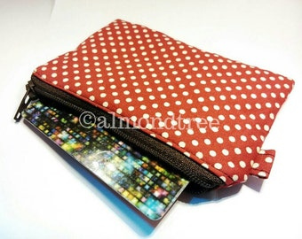 Retro red polka dots women wallet, zip purse, work id, id1370368 credit card case, coin pouch, portemonnaie, gift ideas, portefeuille,