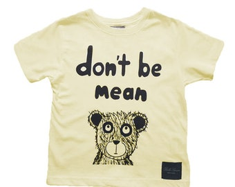 Bella Simone Don't Be Mean Kids Yellow Graphic-Print T-Shirt, Little Boys, Little Girls  - Anti Bullying, Kindness, Teach Kids