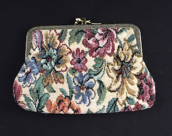 Vintage Tapestry Dual Pocket Clasp Coin Purse