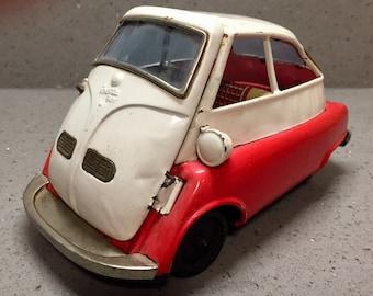 Vintage Tin Toy Bubblecar BMW Isetta  Bandai 588 Friction Japan