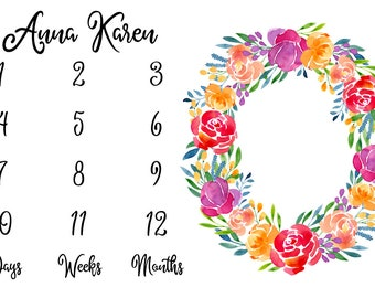 Girl Milestone Fabric in Spring Watercolor Floral / Personalized Name Fabric / Photo Prop Fabric / Calendar Fabric / Newborn First Year