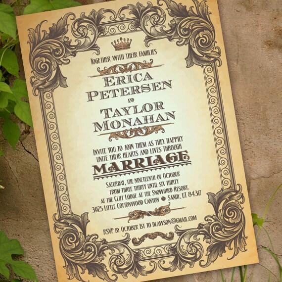 wedding invitations, elegant wedding invitations, wedding invitation with scrollwork, subway lettering, subway wedding, IN225