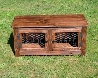 Rustic Bench , Coffee Table With Chicken Wire Doors, Wood Doors, Repurposed  Wood,