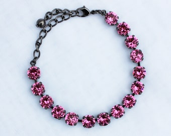 Rose Pink 8mm Swarovski Crystal Bracelet