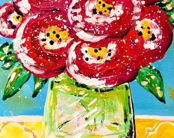 Sunrise Sampler/ acrylic bouquet on canvas/ 8x10 art/ home decor/ interior design