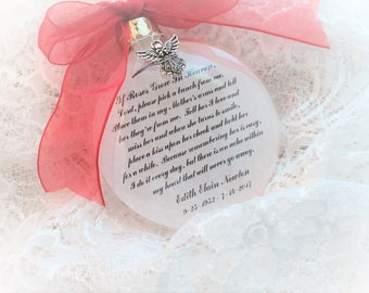 Memorial Ornament If Roses Grow in Heaven, Free Personalization and Charm,